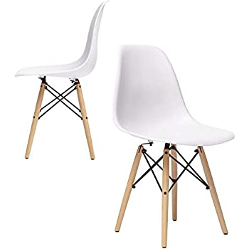 Nufurn Eames Style Designer Dining Chair Living Room Chair Set Of 4 White Amazon In Home Kitchen