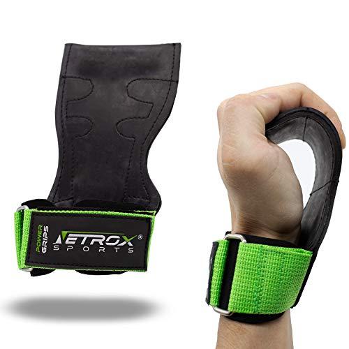 Netrox Copra Versa Power Crossfit Powerlifting drücken ziehen Gripps Straps Grips Fitness Sport Training Handschuhe Trainingshandschuhe Sporthandschuhe Fitnesshandschuhe Workout Home (Grün, M)