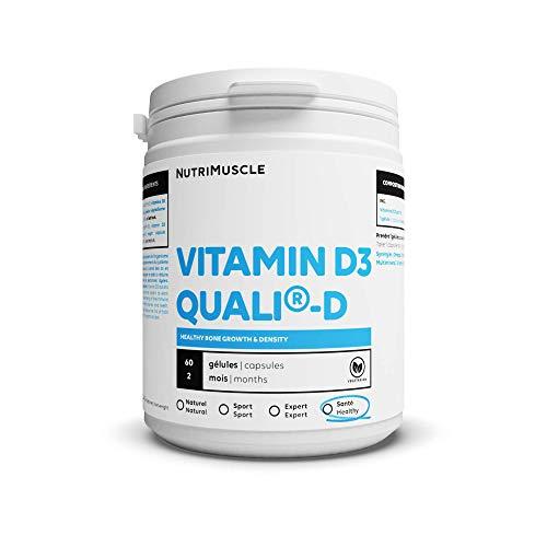 Vitamine D Haute assimilation | Complément Alimentaire sans OGM - Santé et Sport • Vitamine D3 • Sans Gluten | Nutrimuscle | 60 Gélules