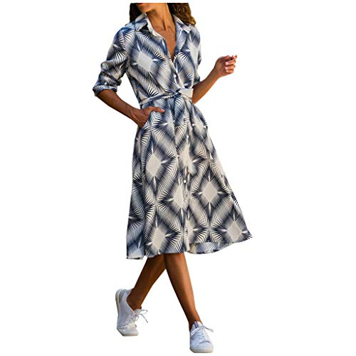 Lowest Prices! AgrinTol Women Casual Skirt Dress Long Sleeve PrintedBandage Tie Turn-Down Collar Fas...
