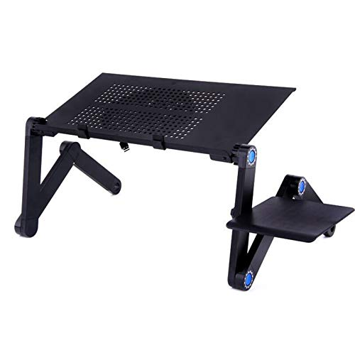 IENNSA Cooling Fan Laptop desk Portable Adjustable Foldable Computer Desks Notebook Holder tv bed PC Lapdesk Table Stand With Mouse Pad (Color : Single large fan)