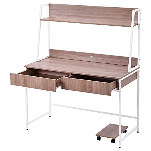 LEKER Escritorio de madera MDF y acero, mesa de trabajo en la oficina, casa, mesa de ordenador con estantes, 2 cajones, estantes para libros y fotos, gran superficie (color madera) 120 x 55 x 144 cm