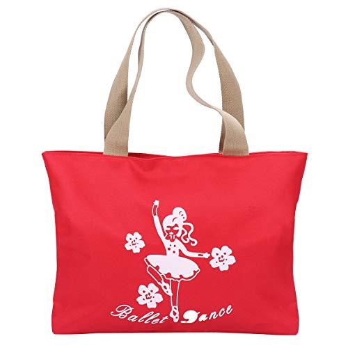 iiniim Bolsa de Ballet Deporte Niña Bolso de Danza Gimnasia Princesa Baile Infantil Bolso de Bailarina Tote Bag para Niña Chica Rojo One Size