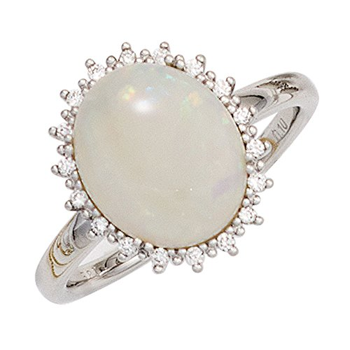 JOBO Damen Ring 585 Gold Weißgold 1 Opal 18 Diamanten Brillanten 0,10ct. Goldring Größe 52