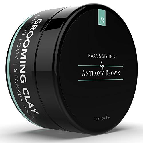 NEU: Anthony Brown® Grooming Clay - Bestes Haarwachs Matt mit starkem Halt - Haarwax für alle Haartypen - Parabenfreies & Restylbares Haar Wax Herren