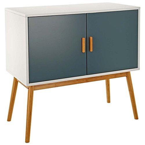 LOMOS Design Kommode Lasse aus Holz in weiß mit Zwei grauen Flügeltüren