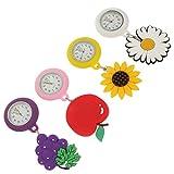 UKCOCO 4 Piezas de Reloj Retráctil de Enfermera Reloj de Enfermería Reloj de Clip Reloj de Solapa Reloj de Enfermera Reloj de Enfermería Clip