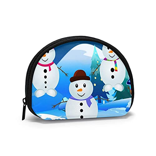 Christmas Snowman Travel Shell Cosmetics Storage Bags Portable Toiletry Bags for Women Girl Small Coin Purse Bag Wallet Coin Bag