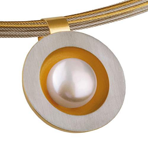 Ernstes Design Anhänger AN159 aus Edelstahl vergoldet mit Perle 9 mm