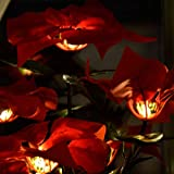 LED Weihnachtsstern beleuchtet Batterie Blumentopf Kunstpflanze Blume 43cm Licht Lichter Kunstblume Kunstpflanze Leuchte Tisch Dekoration Deko - 2