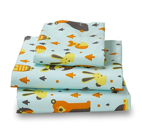 Where the Polka Dots Roam Twin Size Bed Sheets Woodland Creatures Print 3 Piece Set │ Unisex, Flexible Microfiber, Durable, Wrinkle-Resistant, Stain-Resistant Bedding │ Boys, Girls, Baby, Kids Toddler