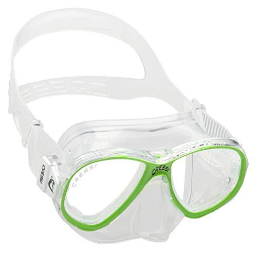 Cressi Perla Jr Mask Máscara de Buceo Premium, Unisex niños, Transparent/Lime, Talla única