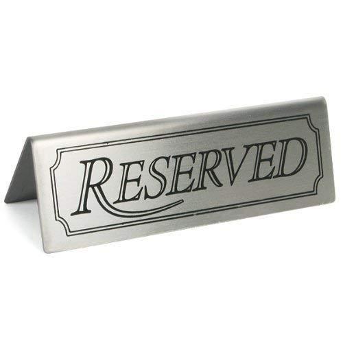 We Can Source It Ltd - Reservado Letrero Acero Inoxidable Restaurante Mesa Cartel Reservado Tienda Signos para Restaurantes, Hoteles y Cafeterías
