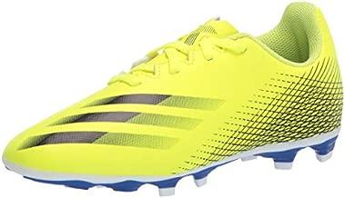 adidas Boy's X Ghosted.4 Firm Ground Soccer Shoe, Solar Yellow/Black/Team Royal Blue, 4 Big Kid
