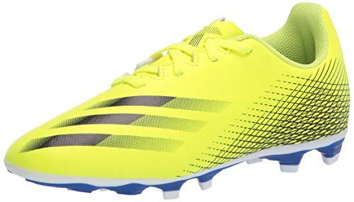 adidas Boy's X GHOSTED.4 Soccer Shoe, Solar Yellow/Black/Team Royal Blue, 5.5 Big Kid