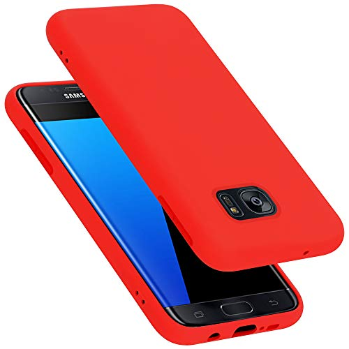 Cadorabo Custodia per Samsung Galaxy S7 EDGE in LIQUID ROSSO - Morbida Cover Protettiva Sottile di Silicone TPU con Bordo Protezione - Ultra Slim Case Antiurto Gel Back Bumper Guscio