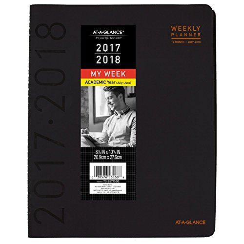"AT-A-GLANCE Academic Weekly / Monthly Appointment Book / Planner, July 2017 - June 2018, 8-1/4"" x 10-7/8"", Contemporary, Black (70957X05)"