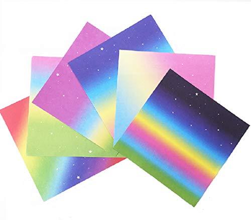 Papel Origami para manualidades, origami, papel plegable de doble cara, arco iris, papel de origami, 12 diseños diferentes para Star Buds of The Stars Origami Paper15 x 15 cm (150 hojas)