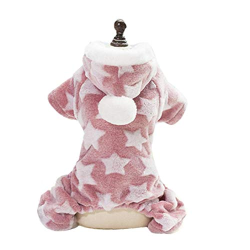 shentaotao Ropa Caliente Adorable De Perrito Festivo De Navidad Felpa Ropa Suave para Los Pequeños Perros De Perrito del Gato del Animal Doméstico Accesorios M (Rosa)