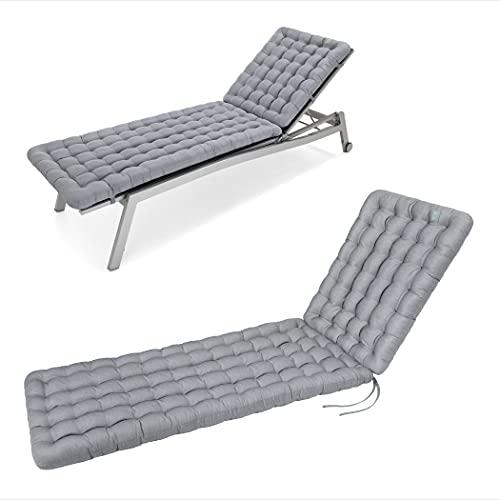 HAVE A SEAT Luxury - Lieexaktflage, Auflage Gartenliege (Hellgrau, Grau) 200 x 60 cm, 8 cm dick, waschbar bei 95°C, Trockner geeignet, Bequeme Polsterauflage für Sonnenliege, Liegestuhl, Relaxliege