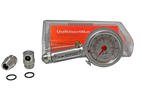 Reifendruckprüfer Reifendruckmesser 0-4 bar mit Ablass, in Klappbox, mit 3 Anschlüssen