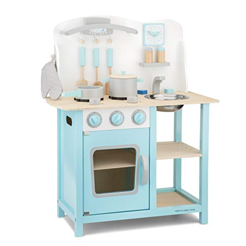 New Classic Toys Blue Wooden Pretend Play Toy Kitchen for Kids with Role Play Bon Appetit Included Accesoires