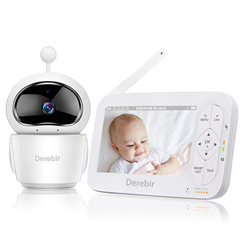 "Vigilabebés con Cámara Bebé Monitor Inalámbrico Video 720P HD 5""Pantalla LCD,Remoto Pan-Tilt-Zoom/Visión Nocturna/Sensor de Temperatura/Modo de Dormir/Comunicación Bidireccional"