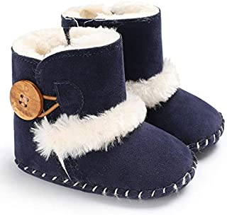 Baby Shoes Baby Winter Warm Woolly Snow Boots with Buckle Strap, Size:11cm(Black) Baby (Color : Blue)