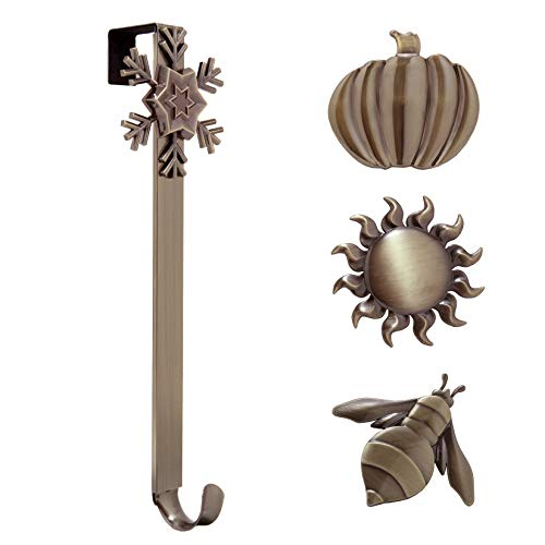 Haute Decor Adjustable Length Wreath Hanger with Interchangeable Icons (Oil Rubbed Bronze-Sun/Snowflake/Bee/Pumpkin)