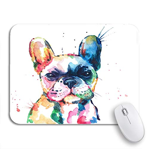 Adowyee Gaming Mouse Pad Frenchie French Bulldog Original Watercolor of Dog Puppy Rainbow 9.5'x7.9' Nonslip Rubber Backing Mousepad for Notebooks Computers Mouse Mats