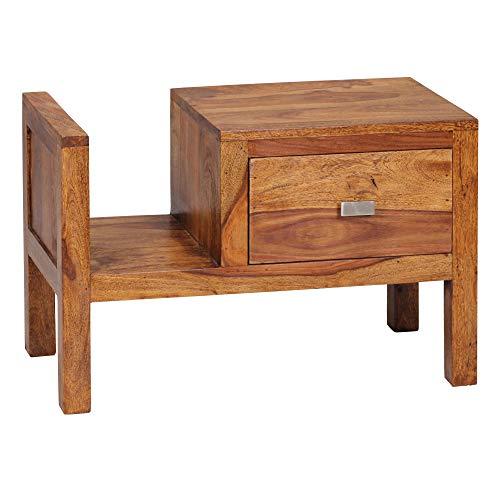 FineBuy Table de Chevet Bois Massif Sheesham 60 x 40 x 30 cm avec tiroir | Design Table de Nuit Nature Table d'appoint Chambre à Coucher avec Rangement Orientale