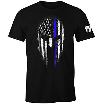 Thin Blue Line USA Flag Spartan Men s T Shirt  XL