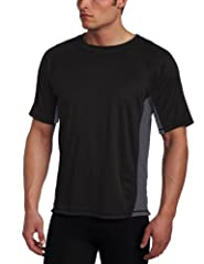 Short-sleeve rashguard featuring crew neckline and contrast panels at sides UPF 50+ rating