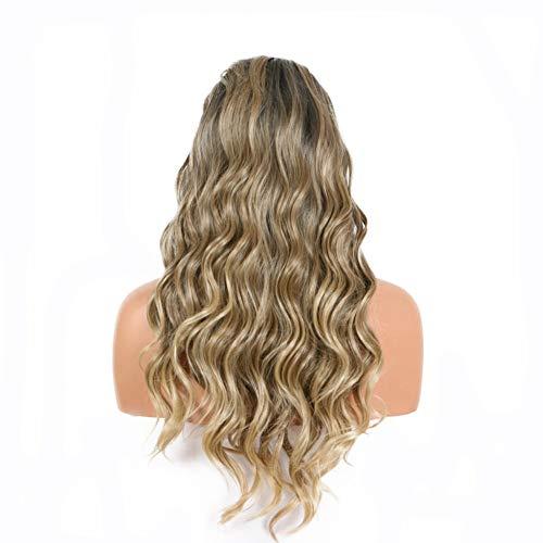 Perruque de rechange Drag Queen Blonde Longue bouclée Cheveux ondulés racines foncées Blond froid Couleur naturelle Lace Front Perruque pour femmes filles