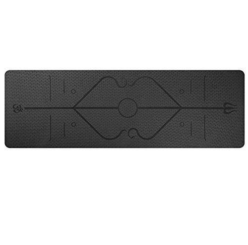 JWGD 1830 * 610 * Tapis de Yoga de 6 mm avec Ligne de Position Tapis de Tapis antidérapant pour Les Tapis de Gymnastique de Fitness environnementale débutant (Couleur : Noir)