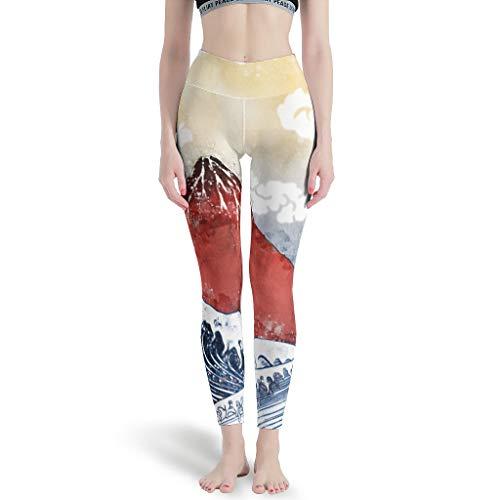 OwlOwlfan Leggings japoneses Ukiyoe Big Wave para mujer, sin costuras, secado rápido, pantalones de yoga, pantalones deportivos, pantalones deportivos para gimnasio, deporte