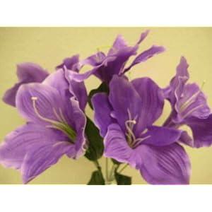 16″ Bouquet 2 Bushes Purple Amaryllis Artificial Silk Flowers LivePlant