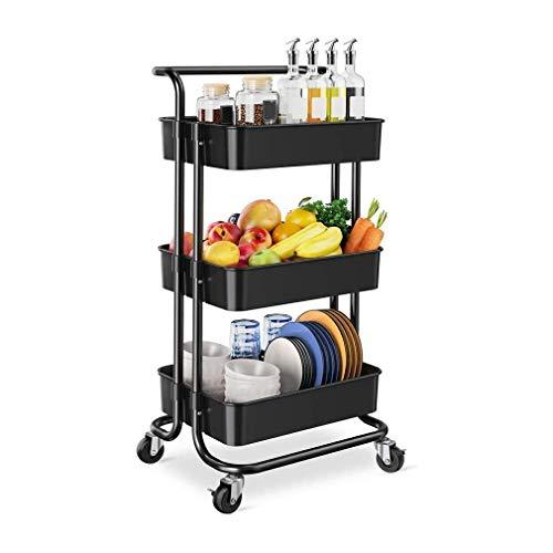 blackpoolal Servierwagen Küchenwagen Rollwagen Allzweckwagen Roll Regal für Küche Bad Büro mit Rollen 3 Etagen