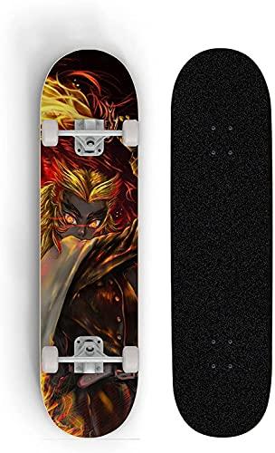 Nixi888 Anime Skateboard Teenager Skateboard Boy Vier Wheel Skill Deck Anfänger Doppel Neigung Skateboard 7-Layer Ahorndeck Skateboard für Demon Slayer