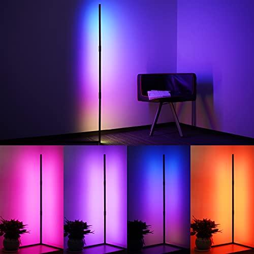 Mefan - Lampada da terra a LED dimmerabile con telecomando, per soggiorno, camera da letto, cambia colore, luce RGB, 10 livelli di luminosità, moderna, minimalista, angolo destro