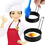 Egg Ring,【2Pcs】longzon Pancake Mold, Crumpet Rings, Sandwich Mold, English Muffin Ring, Stainless Steel Round Cooking Circle Form Shaper for mcmuffins/frying, betterthan silicone Griddle Poached Maker