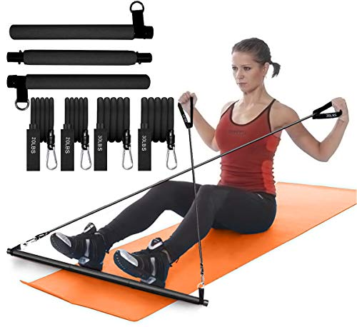 Pilates bar with 2 Sets of Resistance Bands (20lbs. and 30lbs.) with...