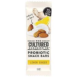 The Cultured Snacking Co. Probiotic Fridge-Ready Snack Bar, Lemon Ginger, 12 Grams Protein, Gluten-F