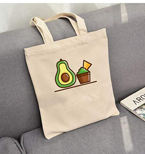 Zshhy Wiederverwendbare Einkaufstasche Mit Hübschem Avocado-Print Damen Eco-Print Canvas-Taschen Cartoon-Einkaufstasche-B_35X40Cm