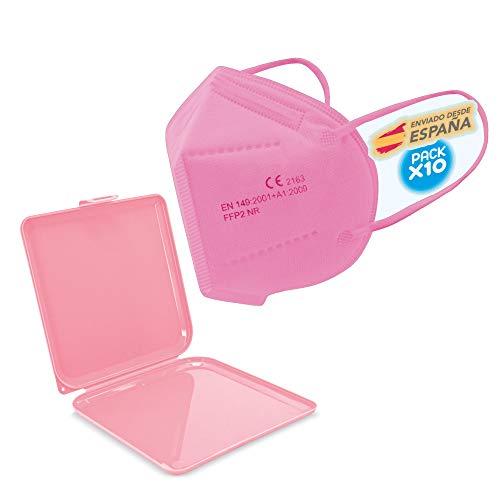 10x rosa FFP2 Mundschutz Maske, CE-Zertifikat Masken 10 Stück einzelverpackt + Maskenschutz,