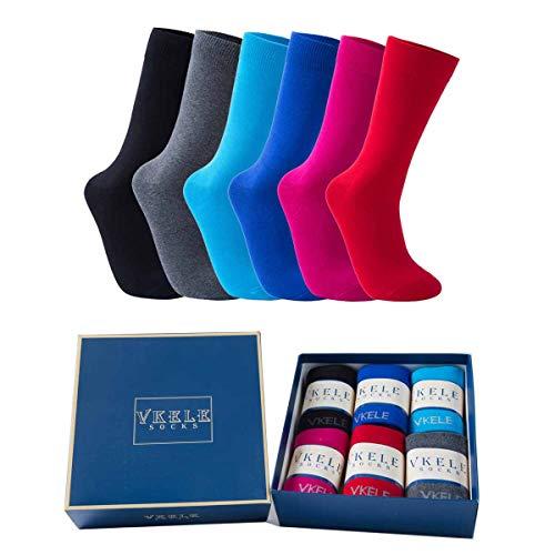 Vkele 6 Paar einfarbig Socken Geschenkpack, Ideal als Valentinsgeschenke, bunt Herrensocken, Baumwolle, Crew Socken, schwarz, grau, blau, rot, pink, 43 44 45 46