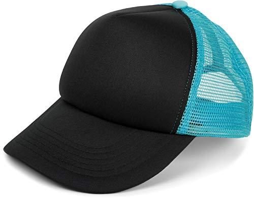 styleBREAKER 5 Panel Mesh Cap, Trucker Baseball Cap, Basecap, verstellbar, Unisex 04023007, Farbe:Schwarz-Türkis