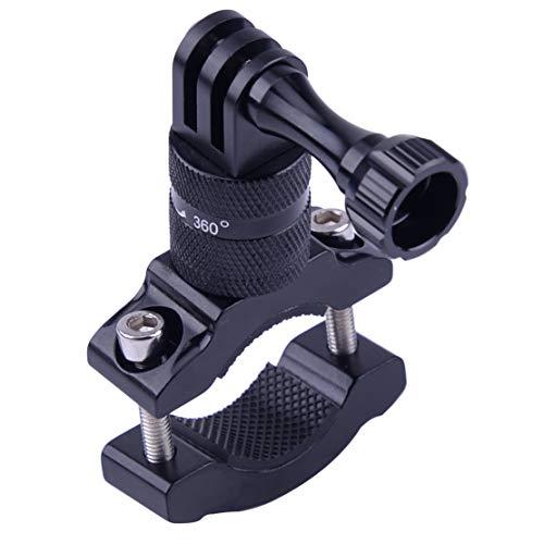 Soporte de aluminio para cámara de acción, soporte de manillar de bicicleta, soporte giratorio para barra de bicicleta, adaptador de montaje para cámara GoPro, color negro