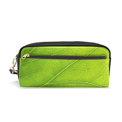 Trousse, Green Leaf Close Up Imprimé Voyage Maquillage Pouch Grande capacité étanche Cuir 2 compartiments pour filles garçons femmes Hommes