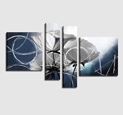 I Colori del Caribe Quadri COMPONIBILI Moderni Dipinti A Mano su Tela con Fiori Azzurro Blu Quadro Moderno per Salone Salotto Ufficio Alta QUALITA' Made in Italy - AMAPOLAS